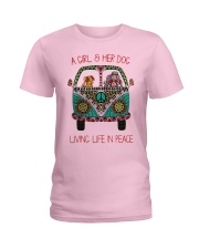 Hippie A girl and her dog Living in Peace Ladies T-Shirt thumbnail