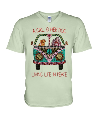 Hippie A girl and her dog Living in Peace