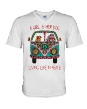 Hippie A girl and her dog Living in Peace V-Neck T-Shirt thumbnail
