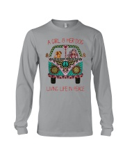 Hippie A girl and her dog Living in Peace Long Sleeve Tee thumbnail