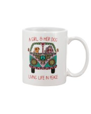 Hippie A girl and her dog Living in Peace Mug thumbnail