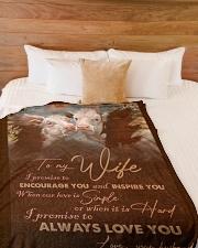 "BLANKET TO MY WIFE Large Fleece Blanket - 60"" x 80"" aos-coral-fleece-blanket-60x80-lifestyle-front-02"