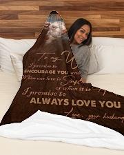 "BLANKET TO MY WIFE Large Fleece Blanket - 60"" x 80"" aos-coral-fleece-blanket-60x80-lifestyle-front-03"