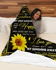"FAMILY YOU ARE MY SUNSHINE Large Fleece Blanket - 60"" x 80"" aos-coral-fleece-blanket-60x80-lifestyle-front-03"
