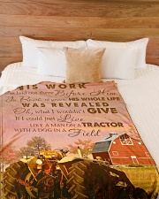 """LIKE A MAN ON A TRACTOR Large Fleece Blanket - 60"""" x 80"""" aos-coral-fleece-blanket-60x80-lifestyle-front-02"""