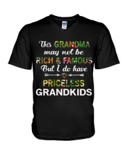 This Grandma May Not Be Rich And Famous V-Neck T-Shirt tile