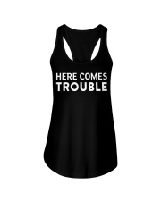 here comes trouble see what i mean Ladies Flowy Tank thumbnail
