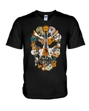Guitar Skull V-Neck T-Shirt thumbnail