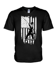 Fishing USA Flag V-Neck T-Shirt tile