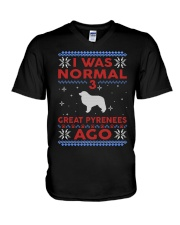 Great Pyrenees Ugly Christmas Sweater V-Neck T-Shirt thumbnail