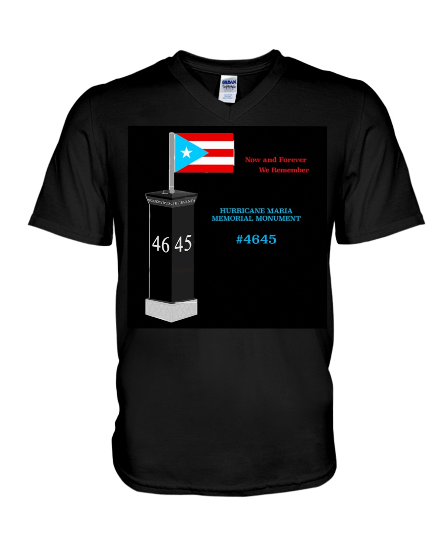 HURRICANE MARIA MEMORIAL MONUMENT FUNDRAISER V-Neck T-Shirt