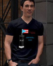 HURRICANE MARIA MEMORIAL MONUMENT FUNDRAISER V-Neck T-Shirt lifestyle-mens-vneck-front-2