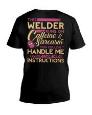 Female Welder - Runs on  V-Neck T-Shirt thumbnail