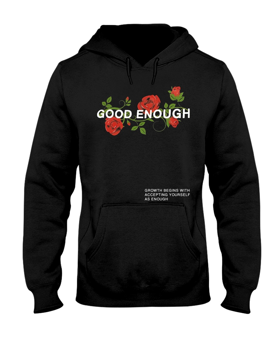 GOOD ENOUGH PULLOVER BLACK HOODIE Hooded Sweatshirt