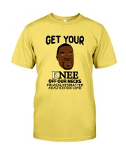 Black lives matter Get your Knee off our Necks Premium Fit Mens Tee front