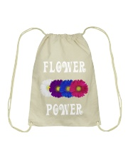 Flower Power Light Square Design Drawstring Bag thumbnail