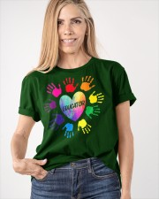 Educator Heart Colorful hands Teacher love every Classic T-Shirt apparel-classic-tshirt-lifestyle-front-100