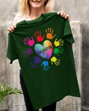 Educator Heart Colorful hands Teacher love every Classic T-Shirt apparel-classic-tshirt-lifestyle-front-117