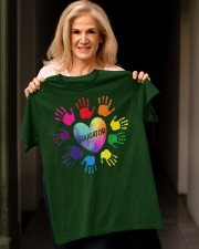 Educator Heart Colorful hands Teacher love every Classic T-Shirt apparel-classic-tshirt-lifestyle-front-118
