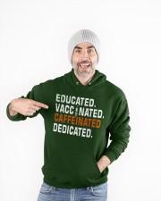 Educated Vaccinated Caffeinated Dedicated Hooded Sweatshirt apparel-hooded-sweatshirt-lifestyle-front-81