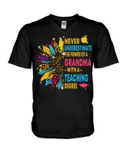 Never Underestimate A Grandma With A Teaching V-Neck T-Shirt thumbnail