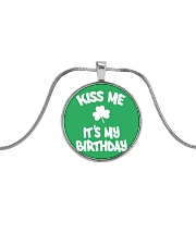 Kiss Me It's My Birthday Metallic Circle Necklace thumbnail