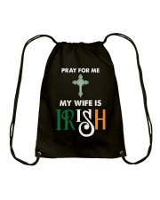 My wife is Irish Drawstring Bag tile