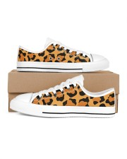 Leopard Collection Women's Low Top White Shoes inside-left-outside-left