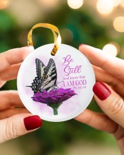 Be still And know that I Am GOD  Circle ornament - single (porcelain) aos-circle-ornament-single-porcelain-lifestyles-08
