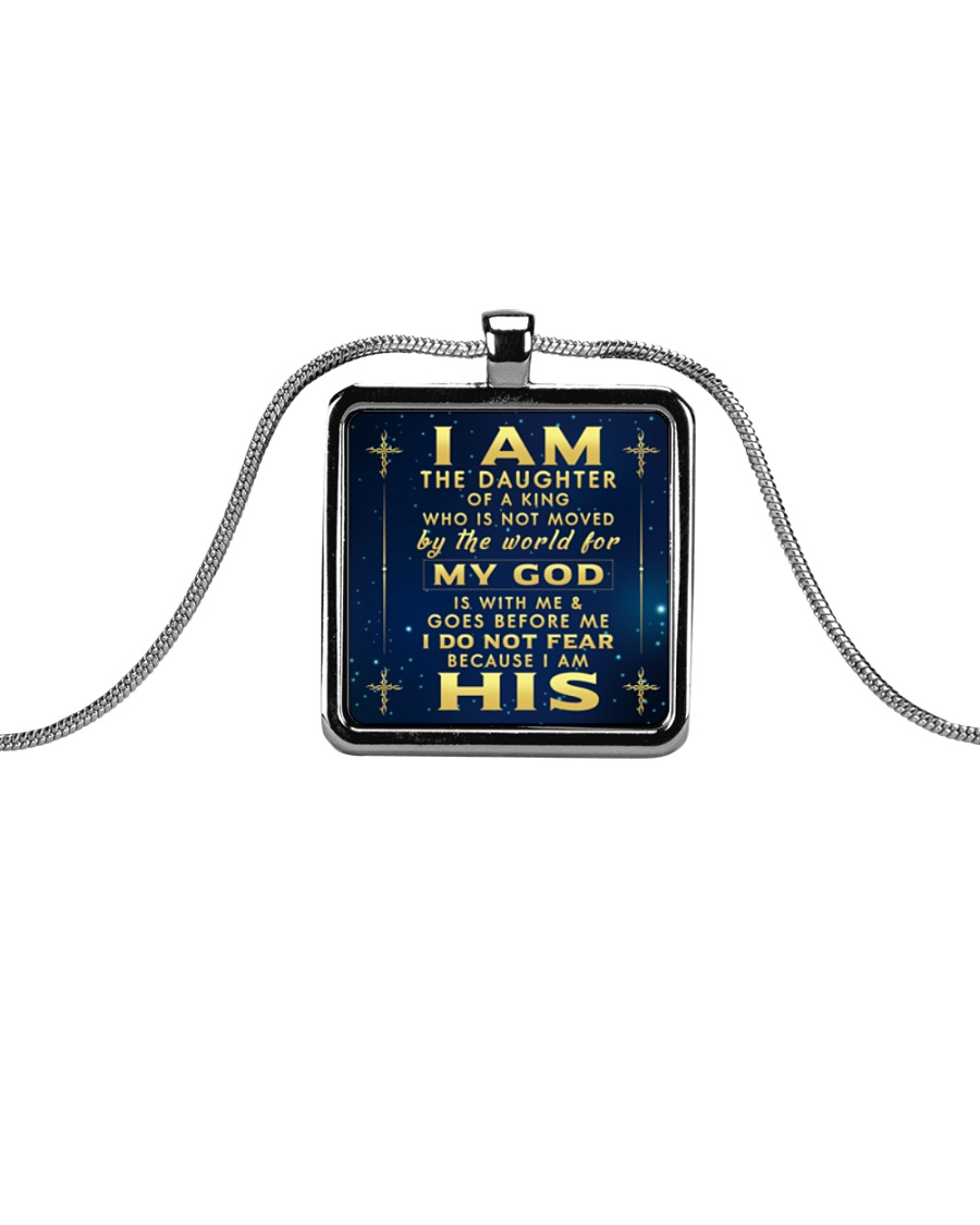 I AM THE DAUGHTER OF A KING Metallic Rectangle Necklace