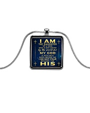 I AM THE DAUGHTER OF A KING Metallic Rectangle Necklace front