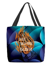 Just Breathe and Believe All-over Tote back
