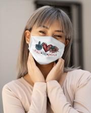 Peace love america Cloth face mask aos-face-mask-lifestyle-17