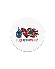 Peace love america Circle Magnet tile