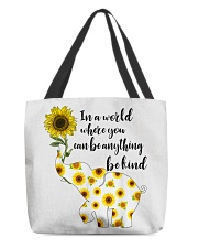 Be Kind Sign Language Elephant Sunflower All-over Tote thumbnail