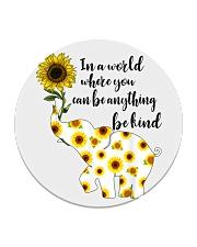 Be Kind Sign Language Elephant Sunflower Circle Coaster thumbnail