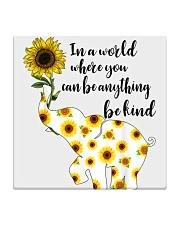 Be Kind Sign Language Elephant Sunflower Square Coaster thumbnail