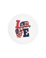 Love Camping USA Flag Flip Flop Camper Circle Cutting Board tile