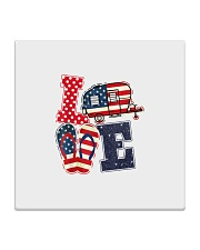 Love Camping USA Flag Flip Flop Camper Square Coaster thumbnail