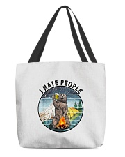 Retro Vintage Bear Camping I Hate People G All-over Tote thumbnail