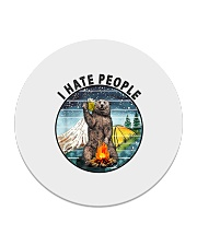 Retro Vintage Bear Camping I Hate People G Circle Coaster tile