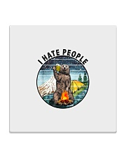Retro Vintage Bear Camping I Hate People G Square Coaster thumbnail