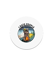 Retro Vintage Bear Camping I Hate People G Circle Magnet thumbnail