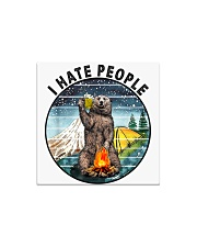 Retro Vintage Bear Camping I Hate People G Square Magnet thumbnail