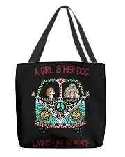 A girl and her dog living life in peace All-Over Tote tile