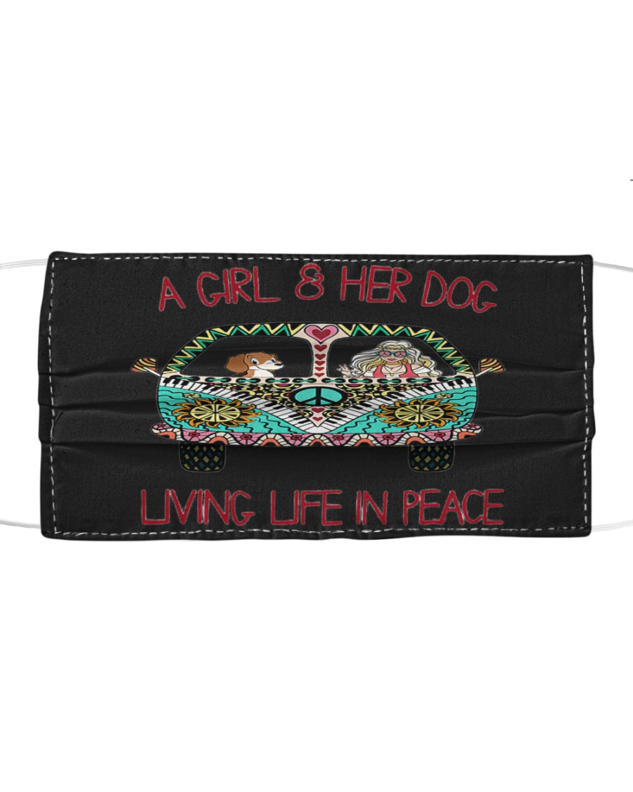A girl and her dog living life in peace Cloth face mask