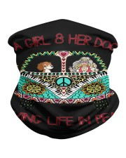 A girl and her dog living life in peace Neck Gaiter tile