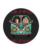 A girl and her dog living life in peace Circle Coaster tile
