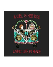 A girl and her dog living life in peace Square Coaster thumbnail