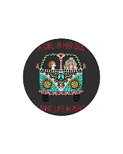 A girl and her dog living life in peace Circle Magnet thumbnail